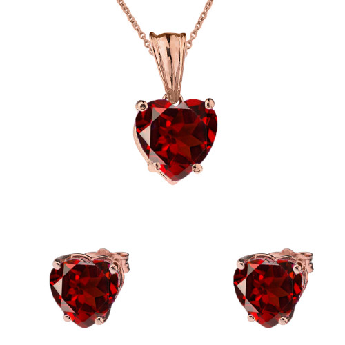 10K Rose Gold Heart January Birthstone Garnet (LCG) Pendant Necklace & Earring Set