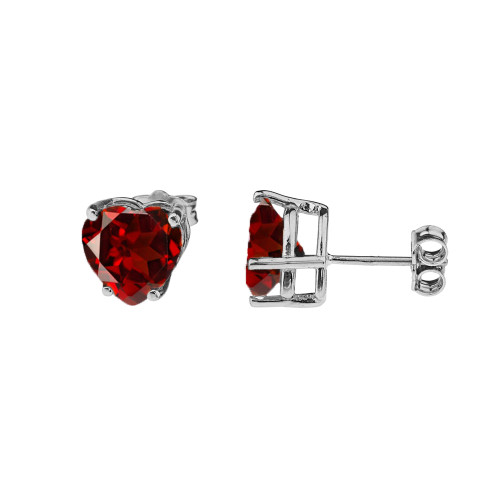 10K White Gold Heart January Birthstone Garnet (LCG) Earrings