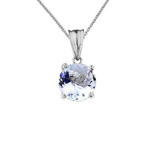 10K White  Gold March  Birthstone  Aquamarine (LCAQ) Pendant Necklace