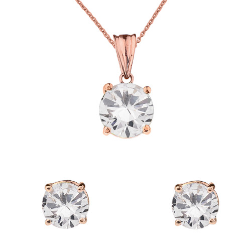 10K  Rose Gold April Birthstone Cubic Zirconia Pendant Necklace & Earring Set