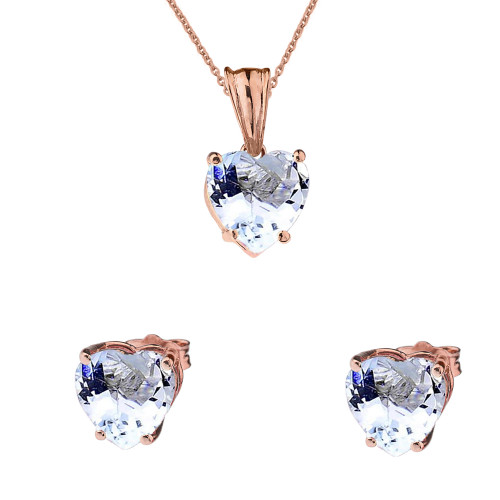10K Rose Gold Heart March Birthstone Aquamarine (LCAQ) Pendant Necklace & Earring Set