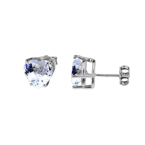 10K White Gold Heart March Birthstone Aquamarine (LCAQ) Earrings