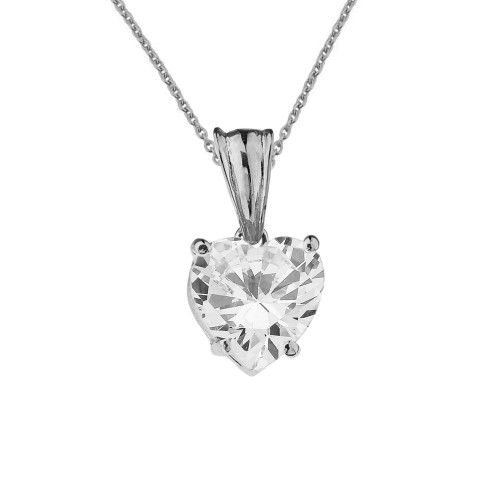 10K White Gold Heart April Birthstone Cubic Zirconia (C.Z) Pendant Necklace