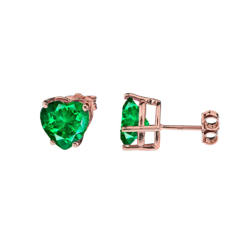10K Rose Gold Heart May Birthstone Emerald  (LCE) Earrings