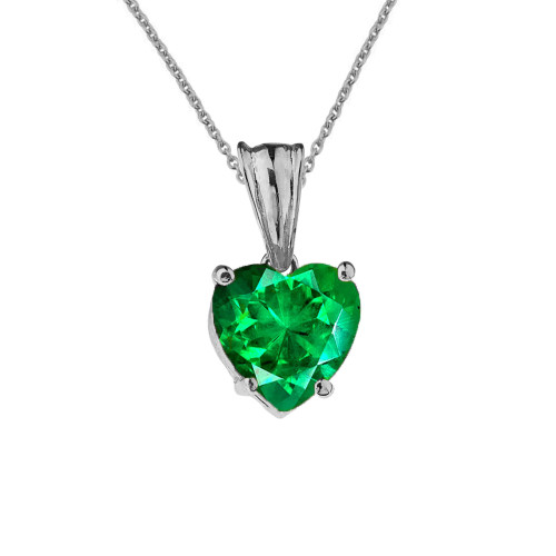 10K White Gold Heart May Birthstone Emerald  (LCE) Pendant Necklace