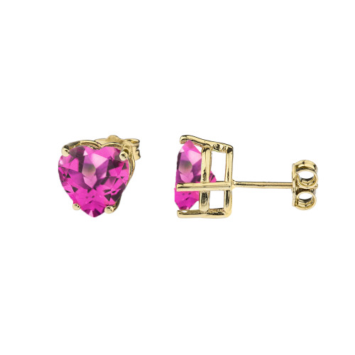 10K Yellow Gold Heart June Birthstone Alexandrite (LCAL) Earrings