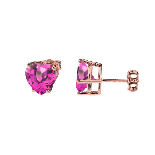 10K Rose Gold Heart June Birthstone Alexandrite (LCAL) Earrings