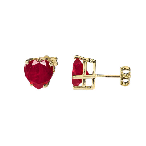 10K Yellow Gold Heart July Birthstone Ruby (LCR) Earrings