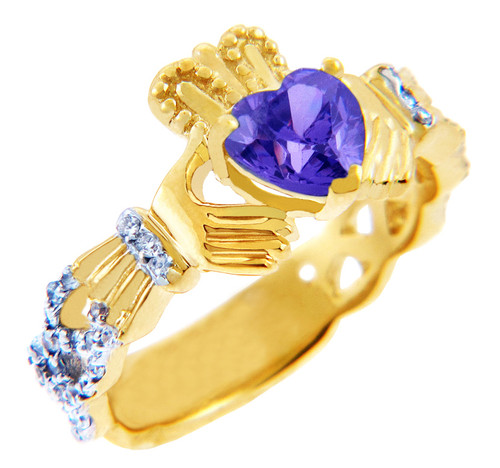 Gold Claddagh Ring with 0.40 Carats of Diamonds and Alexandrite Birthstone.  Available in 14k and 10k Gold.