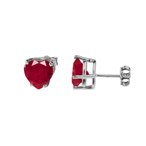 10K White Gold Heart July Birthstone Ruby (LCR) Earrings