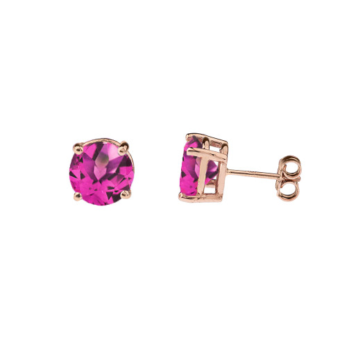 10K Rose Gold June Birthstone Alexandrite (LCE) Earrings