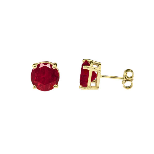 10K Yellow Gold July Birthstone Ruby (LCR)Earrings