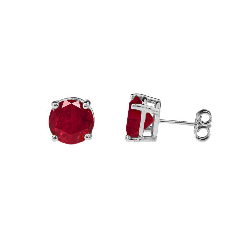 10K White Gold July Birthstone Ruby (LCR)Earrings