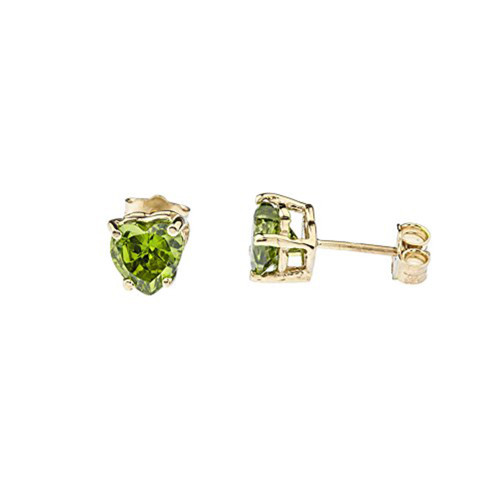 10K Yellow Gold Heart August Birthstone Peridot (LCP) Earrings