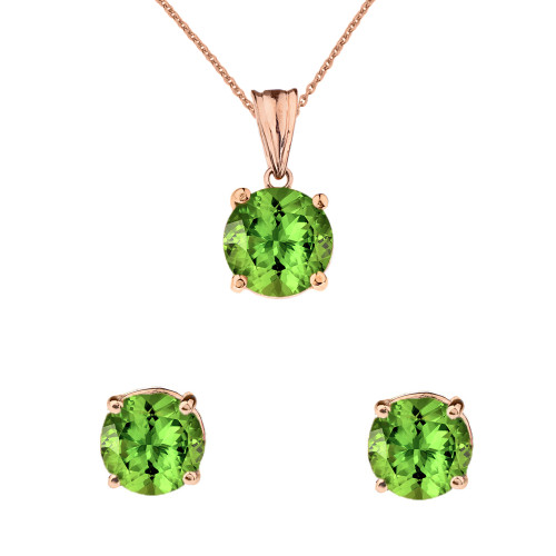 10K Rose Gold  August Birthstone Peridot (LCP) Pendant Necklace & Earring Set