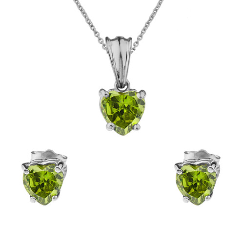 10K White Gold Heart  August Birthstone Peridot (LCP) Pendant Necklace & Earring Set