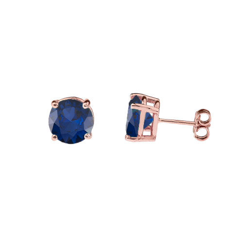 10K Rose Gold  September Birthstone Sapphire (LCS) Earrings