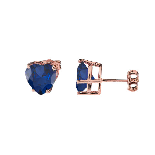 10K Rose Gold Heart September Birthstone Sapphire (LCS) Earrings