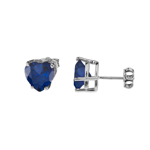 10K White Gold Heart September Birthstone Sapphire (LCS) Earrings