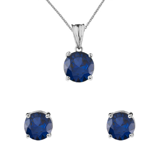 10K White Gold  September Birthstone Sapphire (LCS) Pendant Necklace & Earring Set