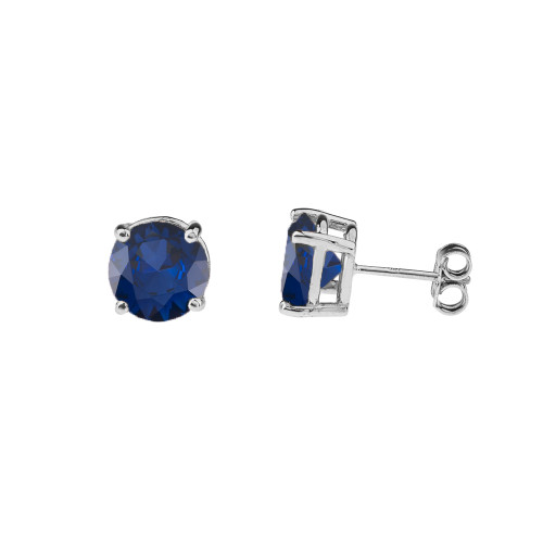 10K White Gold  September Birthstone Sapphire (LCS) Earrings