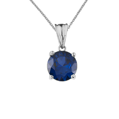 10K White Gold  September Birthstone Sapphire (LCS)  Pendant Necklace