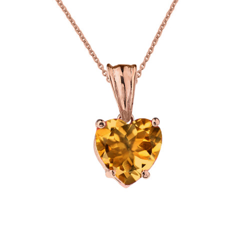 10K Rose Gold Heart November Birthstone Citrine (LCC) Pendant Necklace