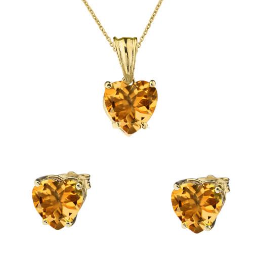 10K Yellow Gold Heart November Birthstone Citrine(LCC) Pendant Necklace & Earring Set