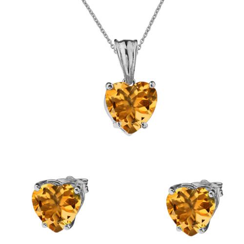 10K White Gold Heart November Birthstone Citrine(LCC) Pendant Necklace & Earring Set