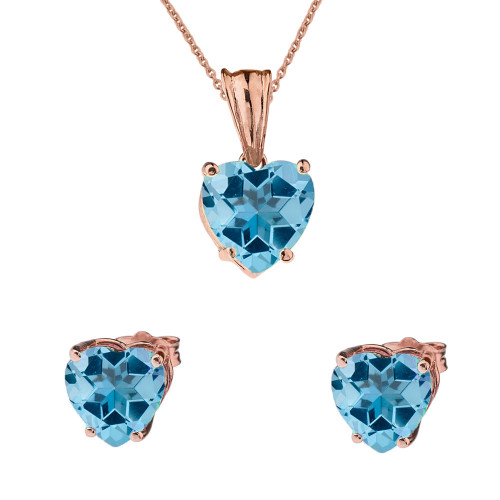 10K Rose Gold Heart December Birthstone Blue Topaz (LCBT) Pendant Necklace & Earring Set