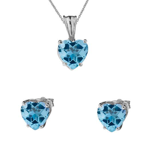 10K White Gold Heart December Birthstone Blue Topaz (LCBT) Pendant Necklace & Earring Set