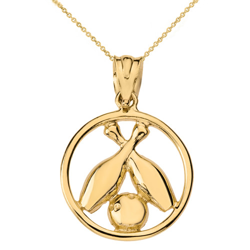 Solid Yellow Gold Circle Bowling Pendant Necklace