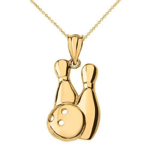 Solid Yellow Gold Bowling Pendant Necklace