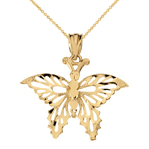 Solid Yellow Gold Filigree Diamond Cut Butterfly Pendant Necklace