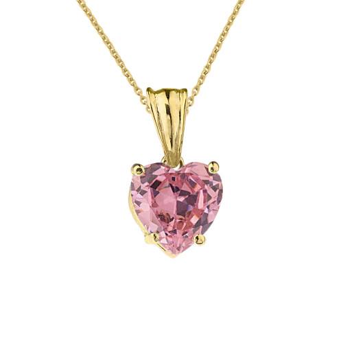 10K Yellow Gold Heart October Birthstone Pink Cubic Zirconia  (LCPZ) Pendant Necklace