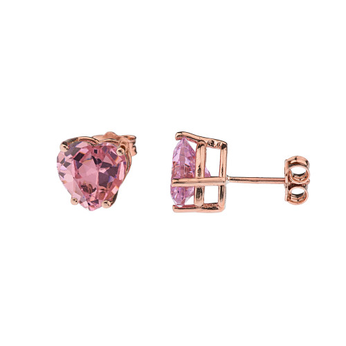 10K Rose Gold Heart October Birthstone Pink Cubic Zirconia  (LCPZ) Earrings