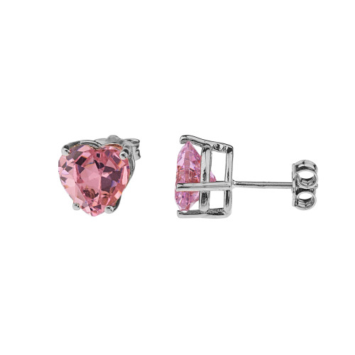 10K White Gold Heart October Birthstone Pink Cubic Zirconia  (LCPZ) Earrings