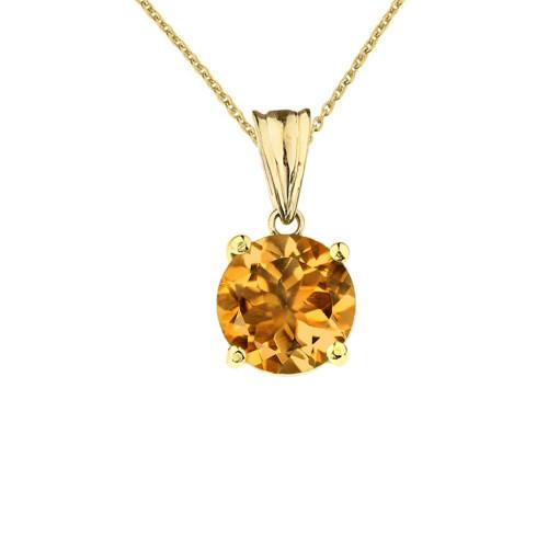 10K Yellow Gold November Birthstone Citrine (LCC) Pendant Necklace
