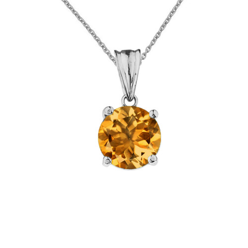 10K White  Gold November Birthstone Citrine (LCC) Pendant Necklace
