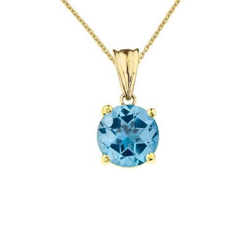 10K Yellow Gold December Birthstone Blue Topaz (LCBT) Pendant Necklace
