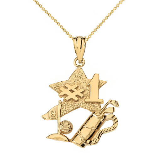 Solid Yellow Gold Number One Golfer Pendant Necklace