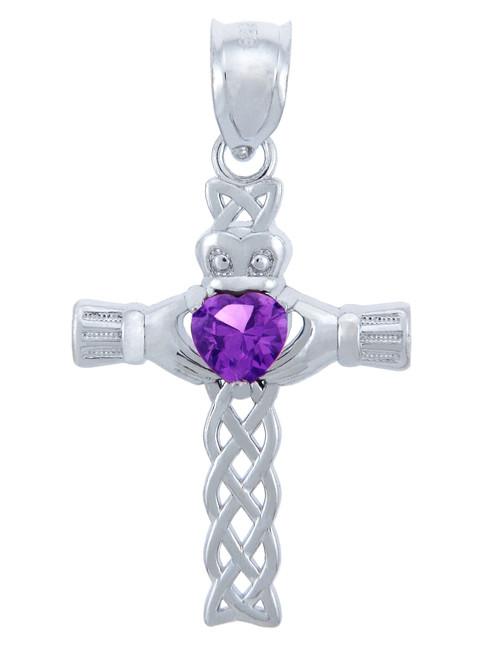 925 Sterling Silver Celtic Cross Purple CZ Heart Pendant w/ Amethyst