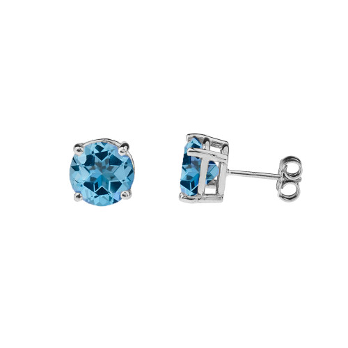 10K White Gold  December Birthstone Blue Topaz (LCBT) Earrings