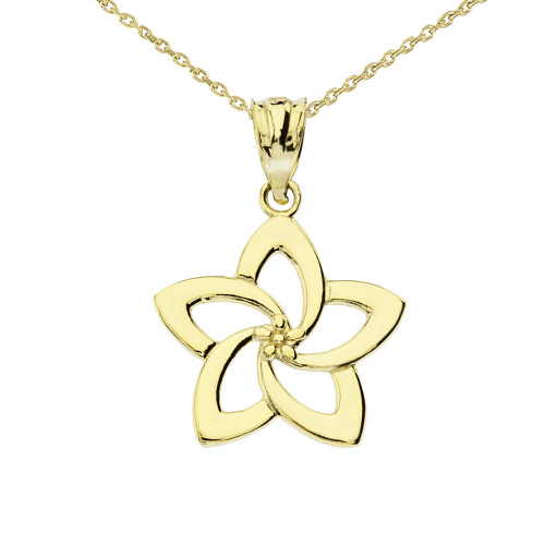 Yellow Gold Flower Pendant Necklace