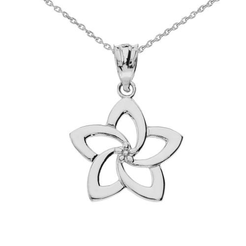 White Gold Flower Pendant Necklace