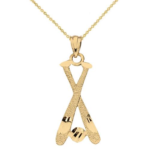 Solid Yellow Gold Diamond Cut Baseball Bats Pendant Necklace
