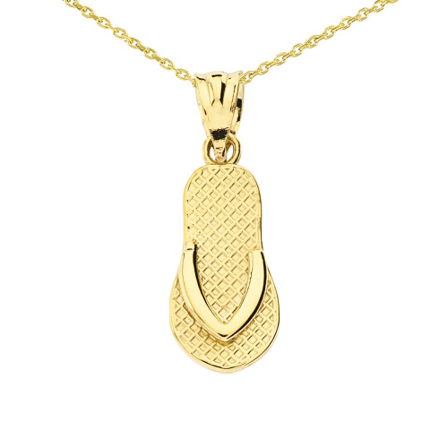 Yellow Gold Textured Flip Flop Pendant Necklace