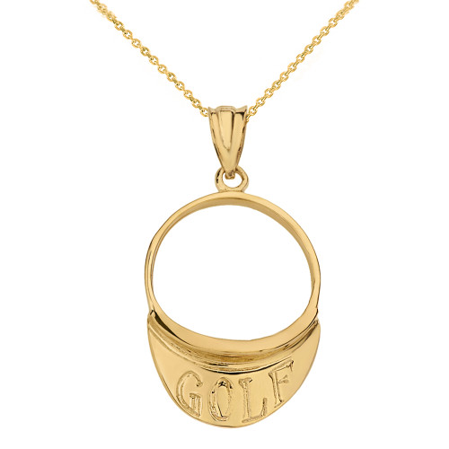 Solid Yellow Gold Golf Visor Pendant Necklace