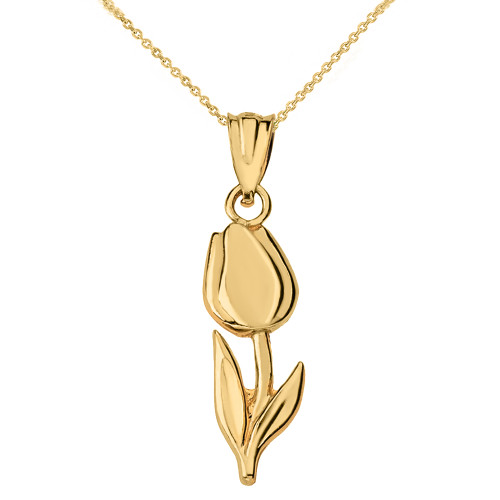 Solid Yellow Gold Diamond Cut Tulip Pendant Necklace