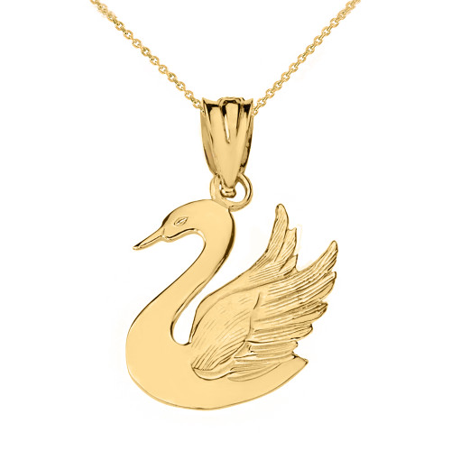 Solid Yellow Gold Swan Pendant Necklace
